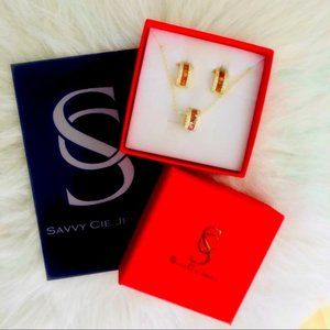 Savvy Cie Jewels Rhondell Earrings & Necklace Set